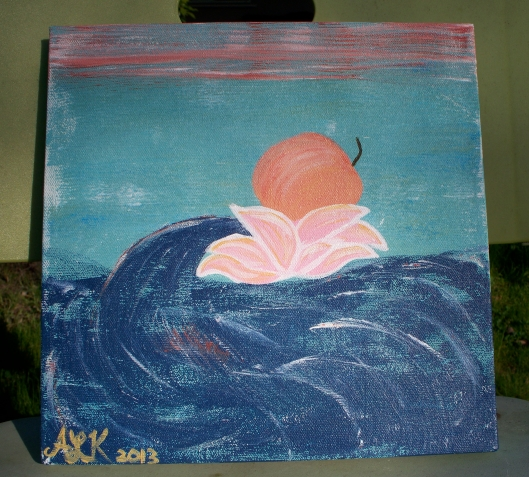 lotus peach, Acrylic on Canvas, ALK 2-2013.